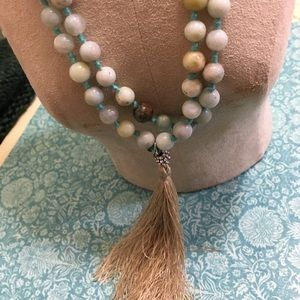 Agate necklace with tassel pendant nice